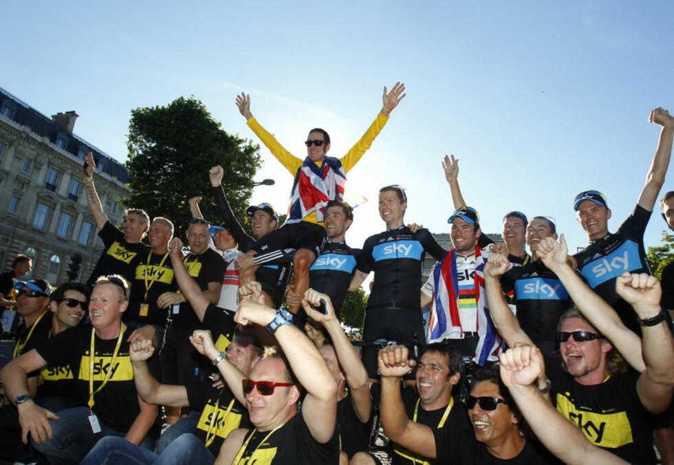 LUKRATIV TOUR: Team Sky dro inn over fire ganger så mye i premiepenger som neste lag under årets Tour de France.Foto: REUTERS/Bogdan Cristel/NTB scanpix
