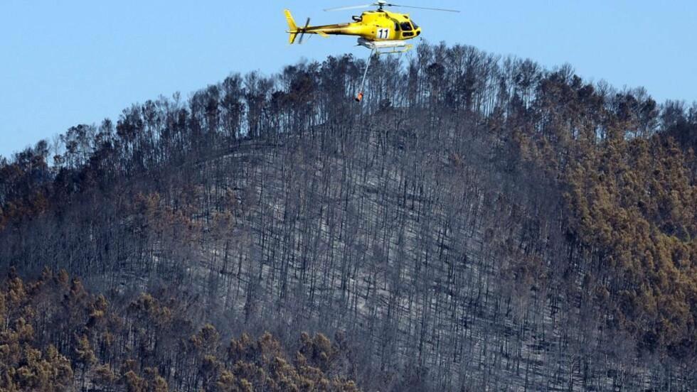 ENORME ØDELEGGELSER:  14 000 hektar er blitt rasert av brannen, som startet ved La Junquera i Spania. Fire mennesker har mistet livet i brannen, ygninger er brent ned til grunnen og et stort antall sauer er tatt av flammene. Her flyr et slukningshelikopter over Boadella d'Empordà i Spania. Foto: REMY GABALDA / AFP PHOTO / NTB SCANPIX