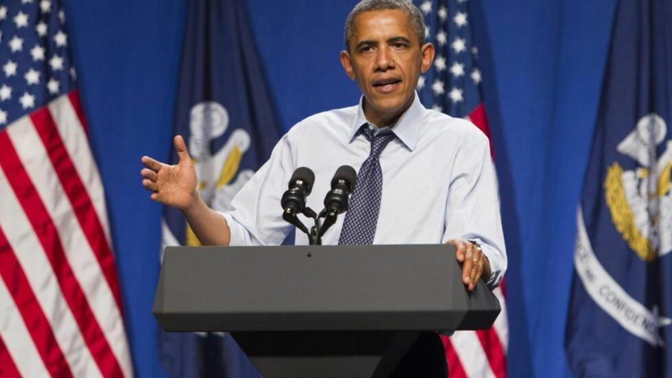 SNAKKET OM VÅPEN: USAs president, Barack Obama, tok endelig opp våpenlovene i etter massakren i Colorado. Foto: EPA/SKIP BOLEN/NTBScanpix