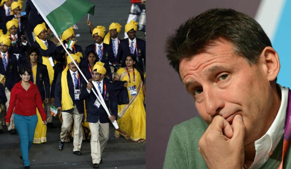 BEKLAGER: Indias flagbærer Sushil Kumar, er tydelig forvirret over hvem kvinnen ved hans side er. Det beklager London OL-sjef Sebastian Coe. Foto: GABRIEL BOUYS/FINDLAY KEMBER/ AFP/ NTB Scanpix.