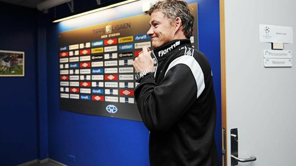 STYRER DRØMMEN MOT ENGLAND: Ole Gunnar Solskjær før dagens pressekonferanse hvor han røpet sin drøm om å lede Manchester United i fremtiden. FOTO: Erik Birkeland / Dagbladet