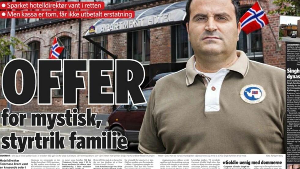 VANT, MEN TAPTE: Dagbladet skrev 21. juni om Tommaso Bram, som vant mot familien Singh i retten, men som ikke fikk erstatningen på 670.000 kroner fordi Singh-selskapet hvor han var ansatt gikk konkurs. Faksimile.