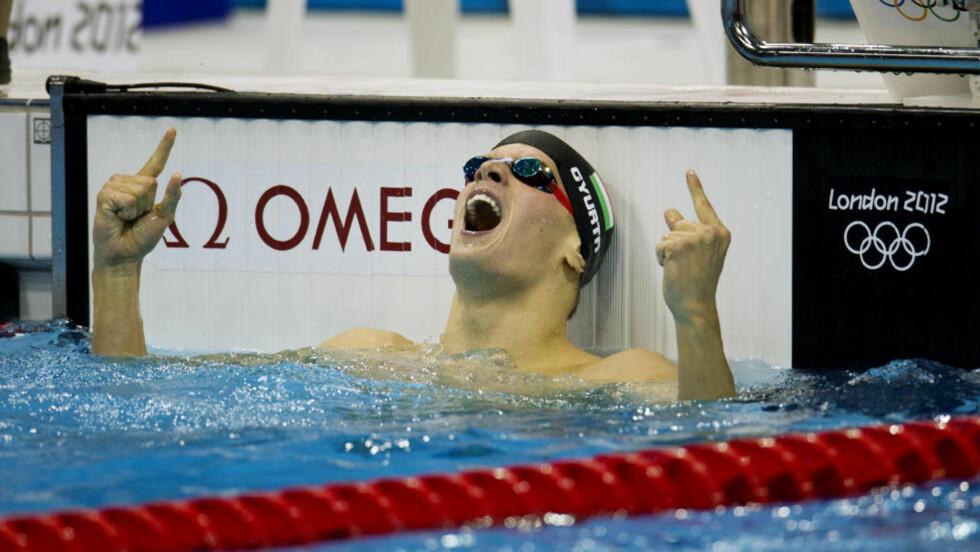 GLAD GULLVINNER: Daniel Gyurta vant 200 meter bryst på verdensrekordtida 2.07,28 - en rekordforbedring på tre hundredeler.Foto: Jessica Gow / NTB Scanpix