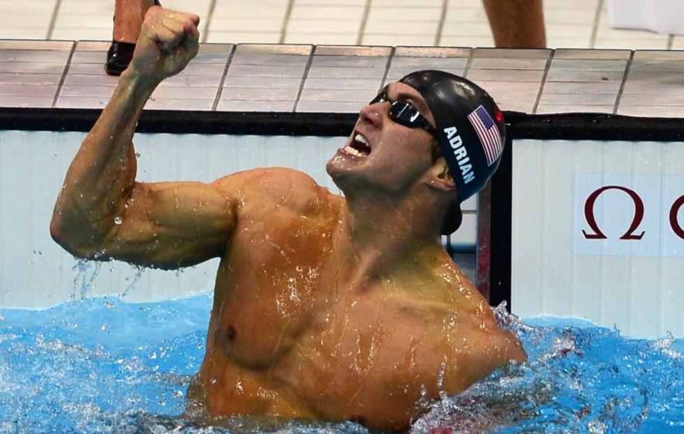 GULLJUBEL: Nathan Adrian vant ett av to amerikanske svømme-gull i OL-bassenget i kveld. USA har nå vunnet medalje i 17 av 20 øvelser. Foto: CHRISTOPHE SIMON / AFP PHOTO / NTB Scanpix