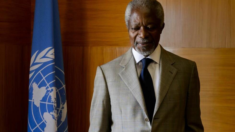 GIR OPP: Kofi Annan har tidligere erklært seg skuffet over at FNs sikkerhetsråd ikke klarte å komme til enighet om Syria. Nå har han trukket seg som spesialutsending. Foto: Fabrice Coffrini / AFP / NTB Scanpix