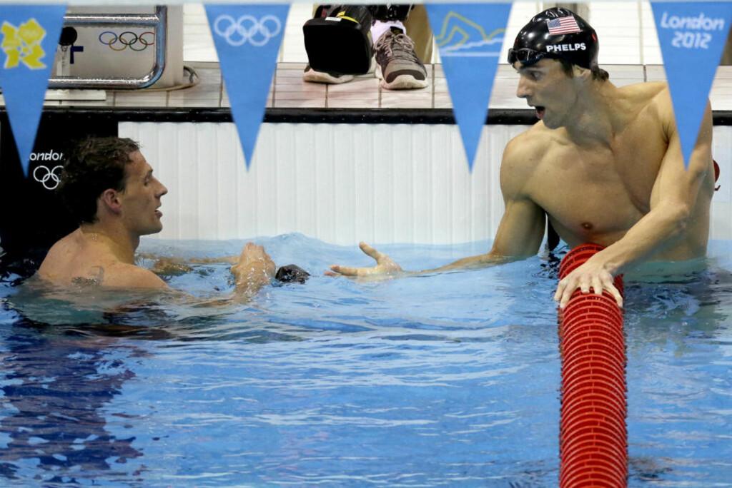"""I KALASFORM: Michael Phelps startet OL nølende med """"bare"""" fjerdeplass på 400 meter medley. OL-kongen over alle OL-konger har imidlertid bare blitt bedre og bedre utover i lekene. Torsdag fikk han også sitt individuelle gull på 200 meter medley.Foto: Ben Curtis / AP Photo / NTB Scanpix"""