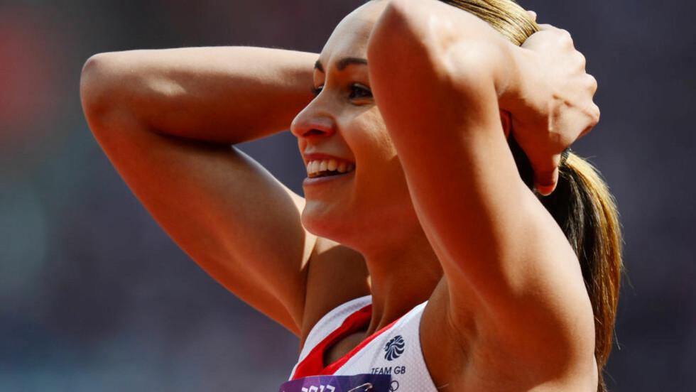TAKLET PRESSET: Jessica Ennis satte ny verdensrekord. Foto: AFP PHOTO / OLIVIER MORIN / NTB scanpix