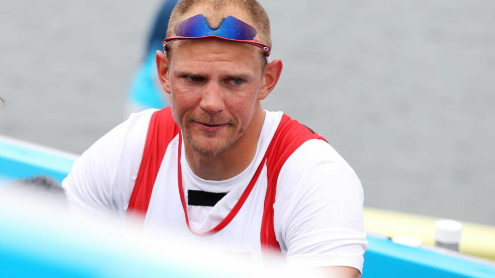 9. PLASS: Olaf Tufte rodde seg opp noen plasser mot slutten av B-finalen i singlesculler og ble nummer tre. Dermed endte roeren på en skuffende 9.-plass i OL. Foto: Erik Johansen / NTB scanpix