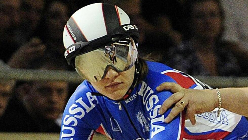 SENDT HJEM: Den russiske banesyklisten Viktoria Baranova har avgitt positiv dopingprøve og er sendt hjem, opplyste Det internasjonale sykkelforbundet (UCI) fredag. Foto: AFP PHOTO / ATTILA KISBENEDEK