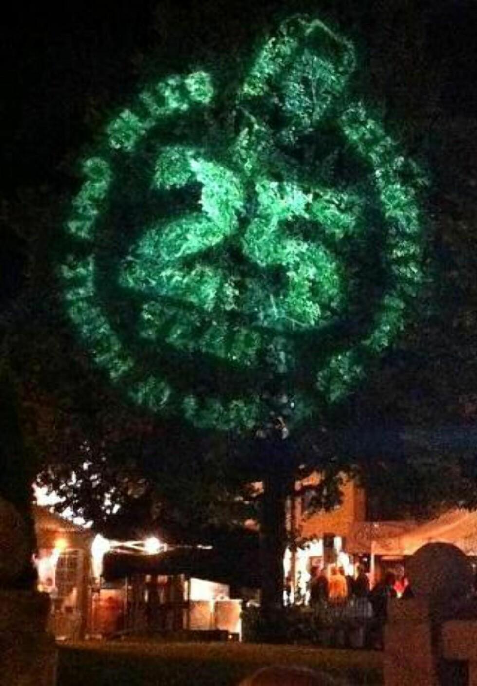 SÅ LYSET: Notodden Blues Festival feiret 25-årsjuileum i helga. Det ble markert med lysshow på trærne på torget. Foto: Øyvind Rønning / Dagbladet