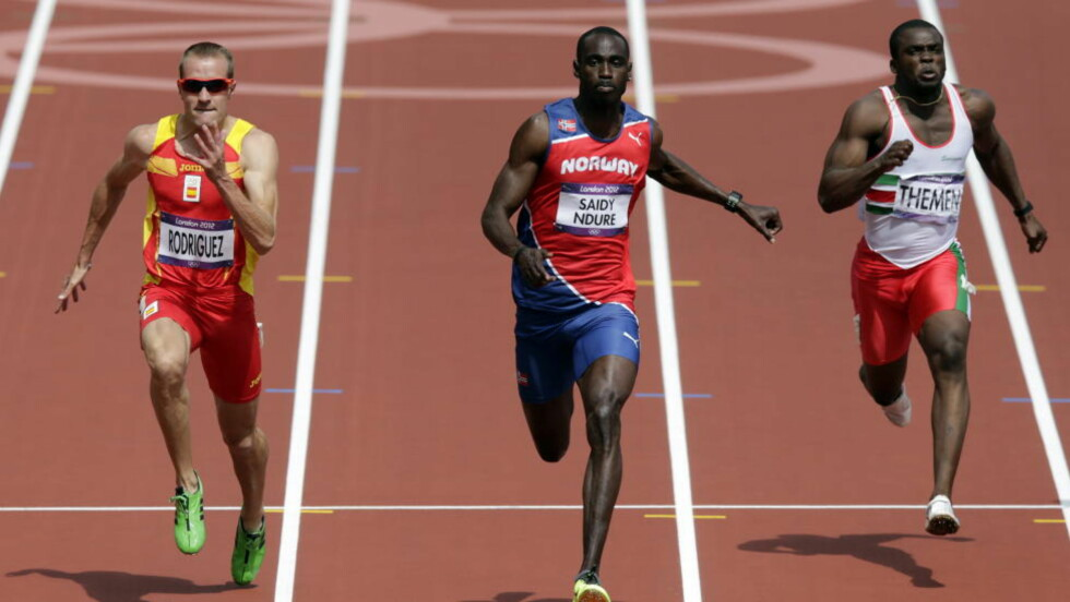 TAKTISK BOM: Jaysuma Ndure åpnet bra på dagens 100 meter, men slappet så mye av de siste 40-50 metrene at han ble slått ut. Foto: Lise Åserud / NTB scanpix