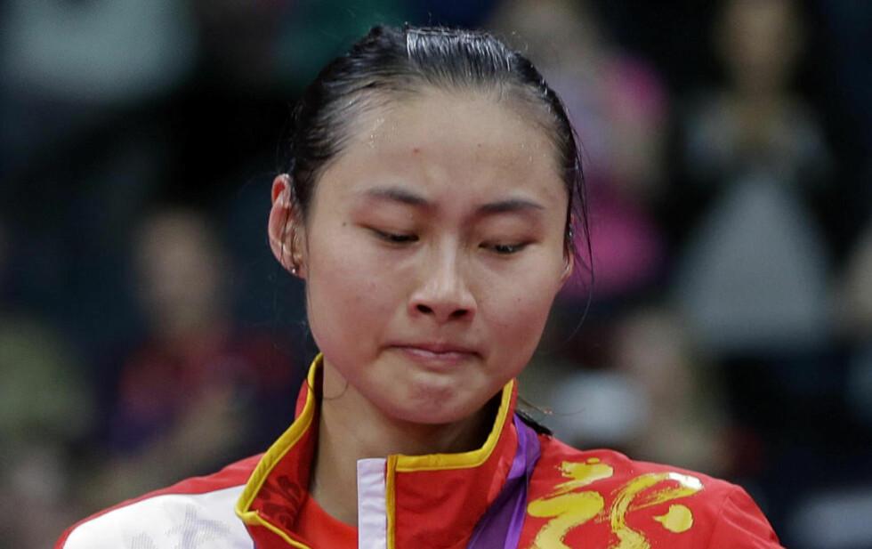 SKUFFET: Toppseedede Wang Yihan var ikke fornøyd med sølv i badminton. Foto: AP Photo/Andres Leighton/NTB scanpix
