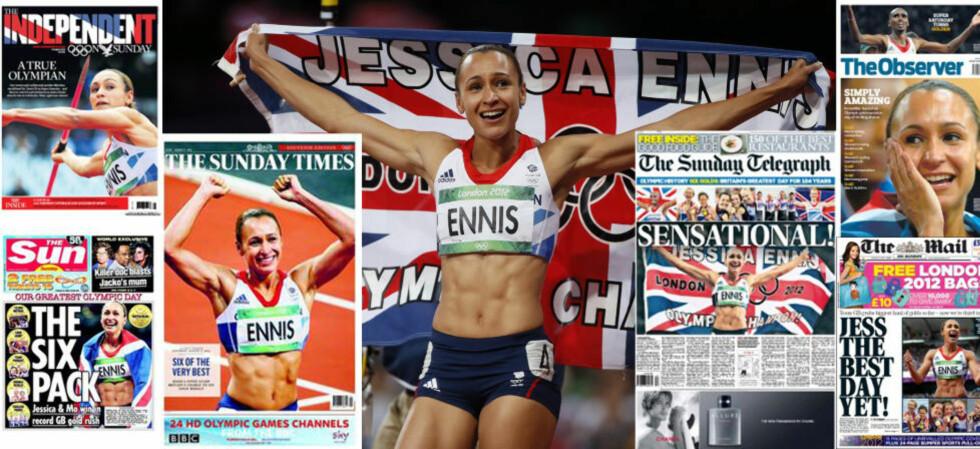 HYLLES I STORBRITANNIA: Jessica Ennis sikret gull i sjukamp, og tok en av totalt sju britiske gull i går. Hun hylles i britiske aviser i dag. Foto: REUTERS/Lucy Nicholson og faksimiler