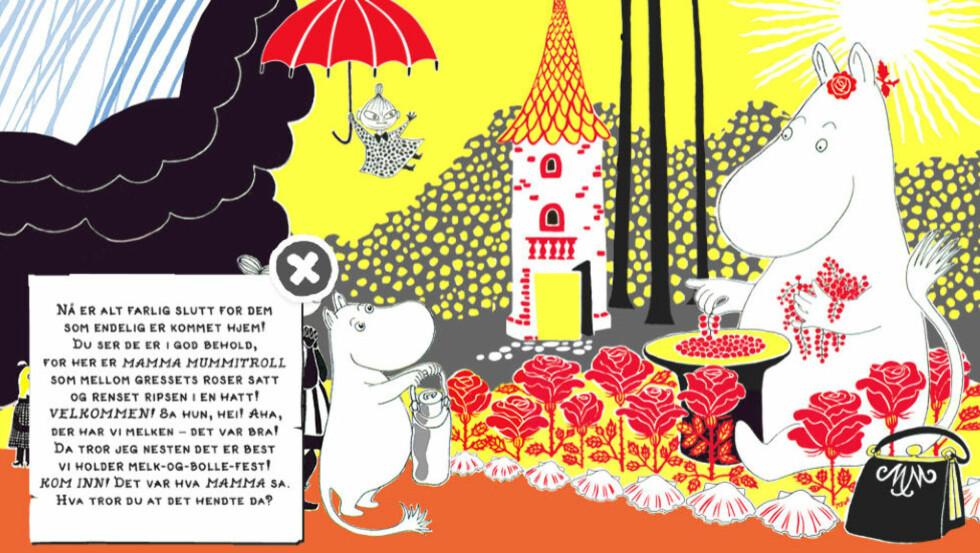 KLASSIKER: Tove Janssons bildebok «Hvordan gikk det» har blitt en gjennomført barnebokapp. Illustrasjon fra appen