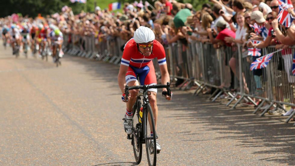 TIL TEAM SKY: OL-syklist Lars Petter Nordhaug (28) har skrevet under toårskontrakt med det nederlandske storlaget Rabobank. Foto: AFP PHOTO / POOL / BRYN LENNON
