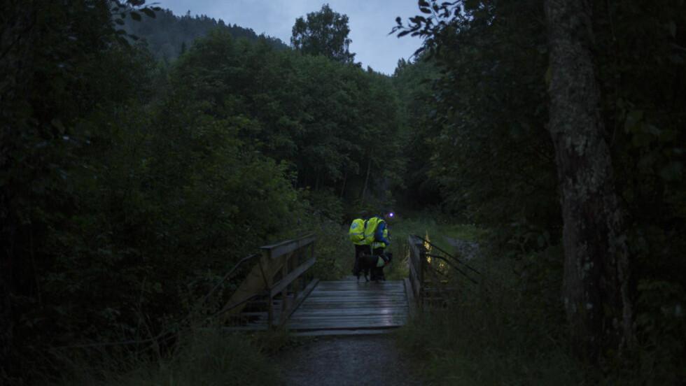 MED LYS: Leteaksjon etter den savnede Sigrid Giskegjerde Schjetne fortsetter i natt.  Foto: Jo Straube / Dagbladet