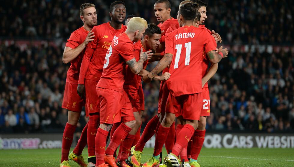 SCORET: Liverpools Philippe Coutinho scoret et av målene mot Derby. Foto: NTB Scanpix