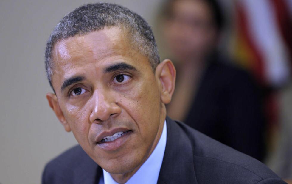 KLAR I TALEN: President Barack Obama møtte i dag landsbygdrådet for å bli orientert om alvorlighetsgraden av tørken i USA. Foto: Susan Walsh / AP / NTB Scanpix