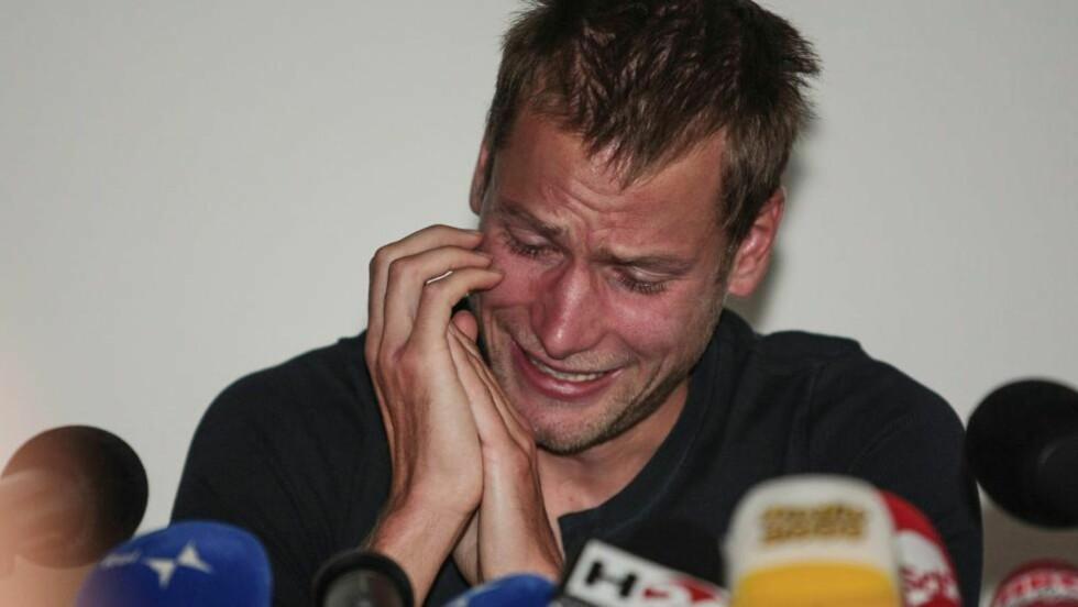 LETTELSE:  Alex Schwazer, olympisk mester i 50 kilometer kappgang, fortalte onsdag gråtende at det var en lettelse å bli avslørt som dopingmisbruker. Foto: AFP PHOTO / Pierre TEYSSOT