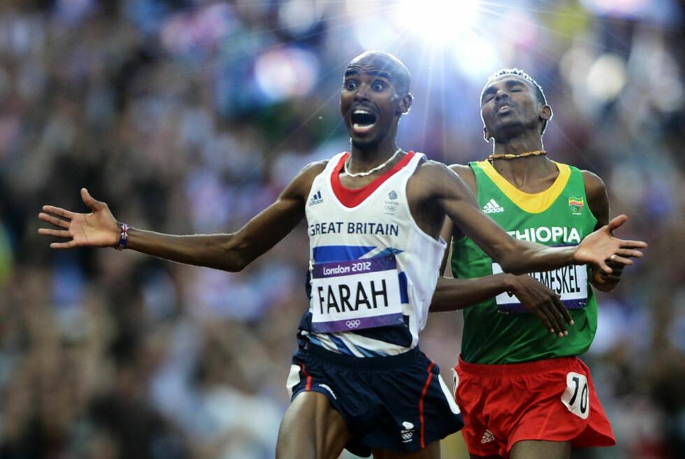 BRITENES NYE YNDLING: Med en sisterunde på imponerende 53 sekunder løp Mo Farah inn til sitt andre OL-gull, denne gangpå 5000 meter. Foto:  REUTERS/Dylan Martinez