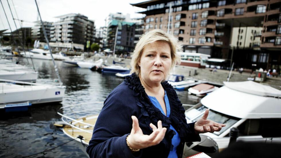 SANNHET:  Erna Solberg krever svar på om regjeringen har pyntet på sannheten. Foto: Christian Roth Christensen / Dagbladet