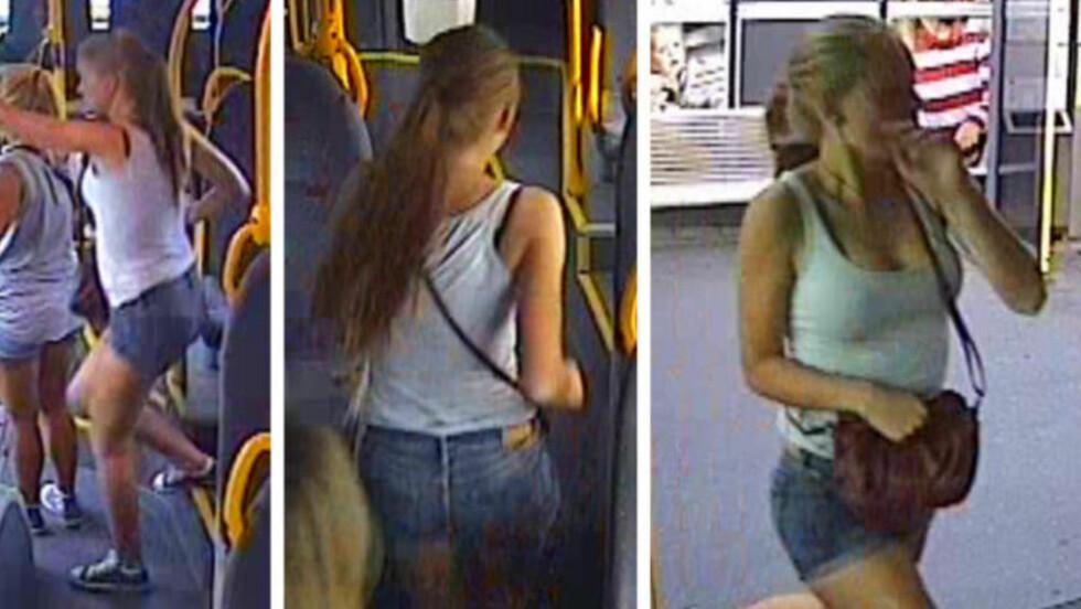PÅ BUSSEN: Disse overvåkningbildene av Sigrid Giskegjerde Schjetne (16) er tatt idet hun går på 69-bussen på Tveita klokka 19.45 lørdag 4. august. Sigrid hadde på seg de samme klærne, en olashorts, grå topp, et gullsmykke med fjær og blå sko av merket Converse, da hun forsvant senere på kvelden. Foto: Politiet