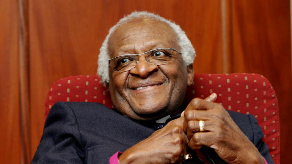 PROTESTERER: Sør-Afrikas tidligere erkebiskop Desmond Tutu går til angrep på et nytt amerikansk tv-show sammen med åtte andre fredsprisvinnere. Foto Kristin Svorte/Dagbladet
