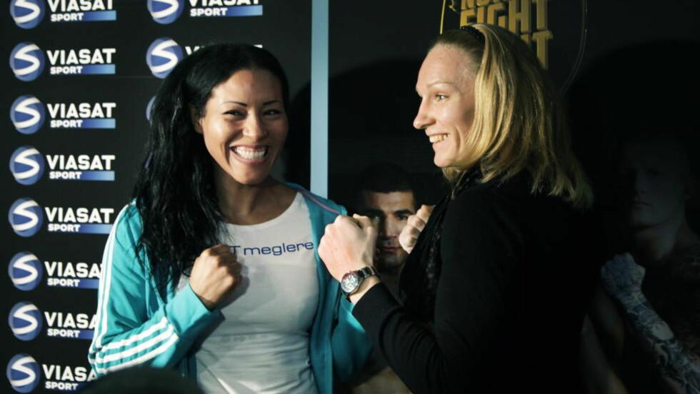 STORKAMP PÅ GANG: Cecilia Brækhus og Anne Sophie Mathis møtes 22. september, etter at kampen er blitt utsatt to ganger så langt i år. Foto: Steinar Buholm / Dagbladet.