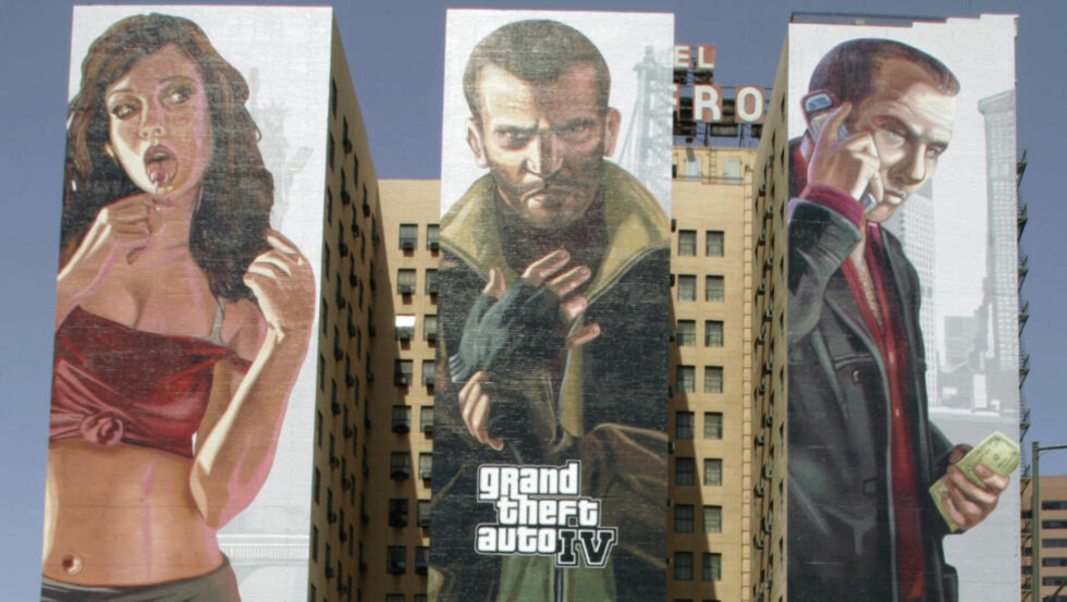 TYPER: Kvinnelige spillere — og spillfigurer — behandles annerledes enn mannlige. Bildet er fra lanseringen av «Grand Theft Auto IV» i 2008. Foto: Reed Saxon / AP Photo / NTB Scanpix