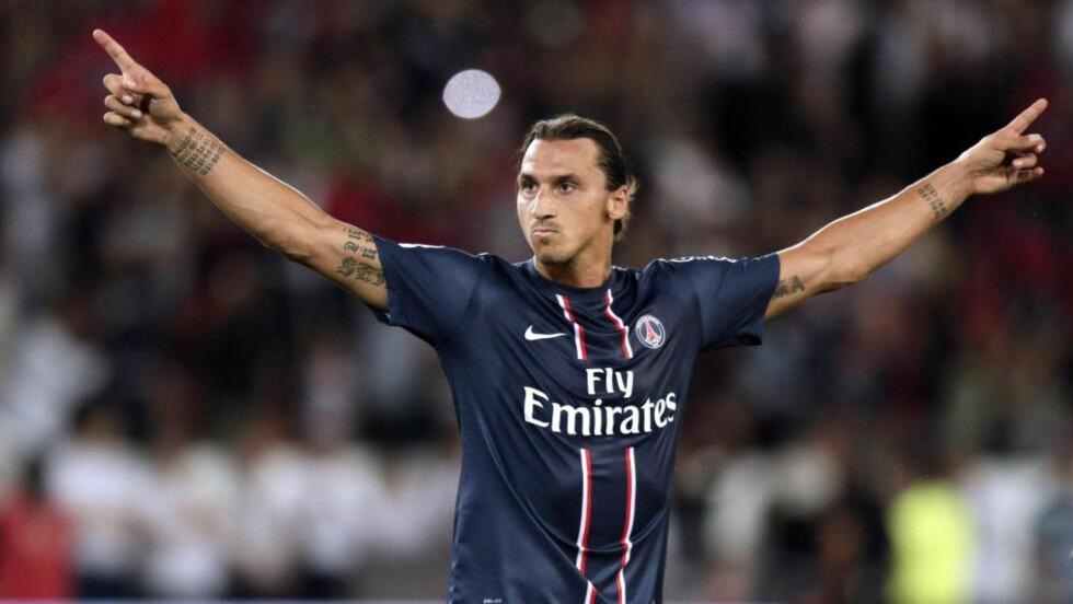STJERNE I FRANKRIKE: Paris Saint-Germains Zlatan Ibrahimovic er kanskje den største stjernen i fransk fotball. Daniel Braaten mener det er positivt med PSGs storhandel i sommer. Foto: AFP PHOTO KENZO TRIBOUILLARD