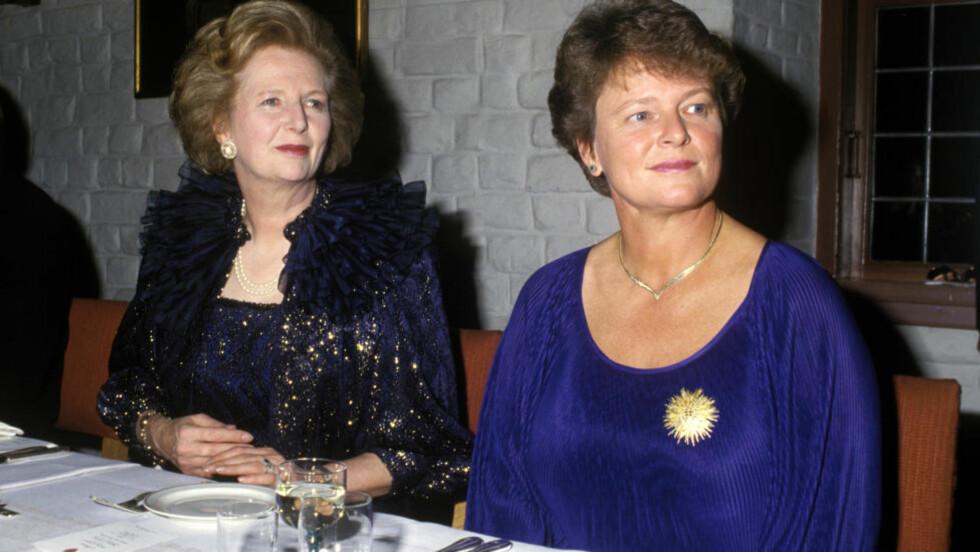 BLE MELDT DØD: Margaret Thatcher var på offisielt besøk i Norge i 1986. Her avbildet sammen med Gro Harlem Brundtland under middagen på Akershus. Foto: Bjørn Sigurdsøn/NTB Scanpix