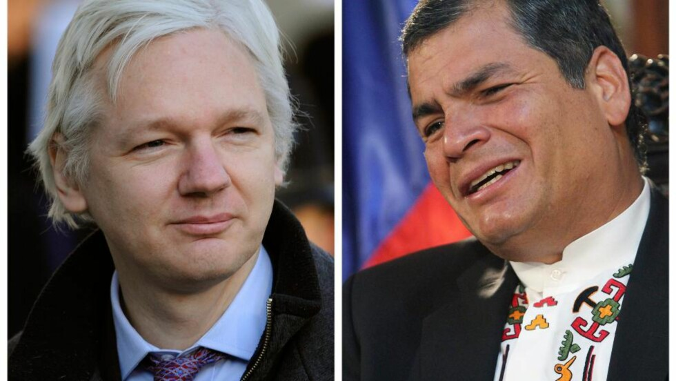 PRESIDENTENS TRUMFKORT?  Politiske analytikere spekulerer i om Ecuadors president, Rafael Correa, vil bruk Julian Assange for å irritere USA. Foto: EPA/MARTIN ALIPAZ