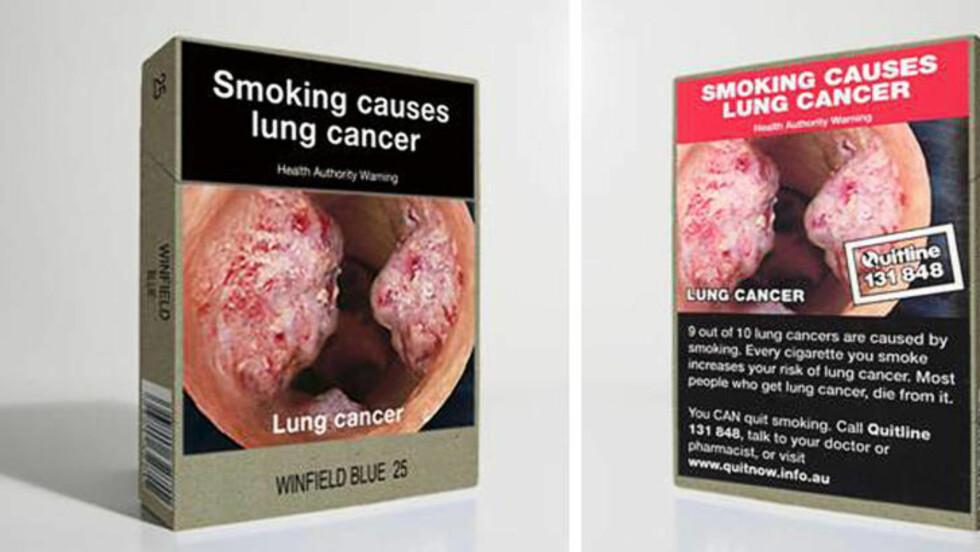 LIKE: Slik blir altså de australske sigarettpakkene seende ut. Merkenavnet blir svært lite. Foto: AUSTRALSKE MYNDIGHETER / AFP / NTB SCANPIX