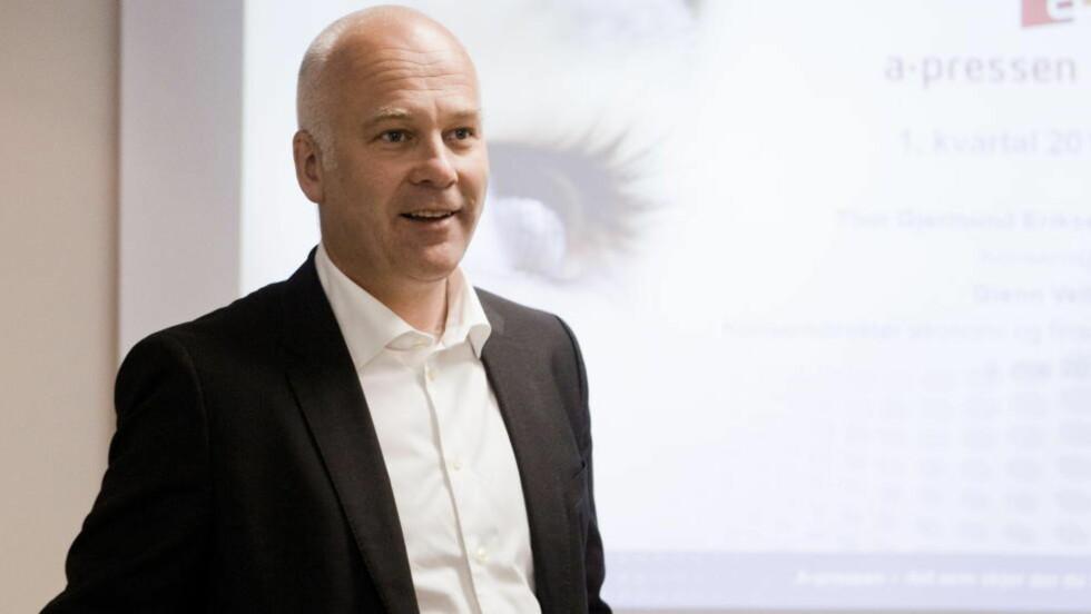 Må selge: Thor Gjermund Eriksen, konsernsjef i A-pressen må selge syv lokalaviser for at medietilsynet skal godkjenne oppkjøpet av Edda media. Foto: Berit Roald / NTB scanpix