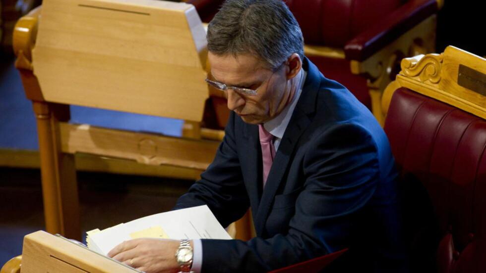 OSLO 20120321. Statsminister Jens Stoltenberg (Ap) under spørretimen i Stortinget onsdag. Foto: Morten Holm /  SCANPIX