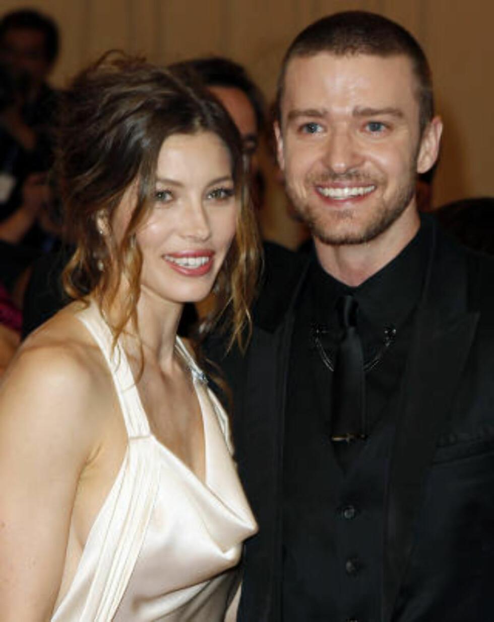 TRENINGSPROSJEKT: Justin Timberlake og kjæresten Jessica Biel.  Foto: NTB Scanpix/Lucas Jackson