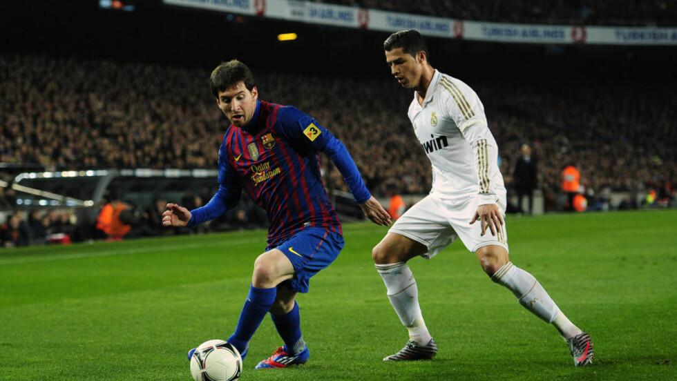 ALDRI KRANGLET: Barcelona-stjernen Lionel Messi mener mediene har skylden for det angivelig rivaliseringen mellom ham og Real Madrids Cristiano Ronaldo. Foto: AP Photo/Manu Fernandez