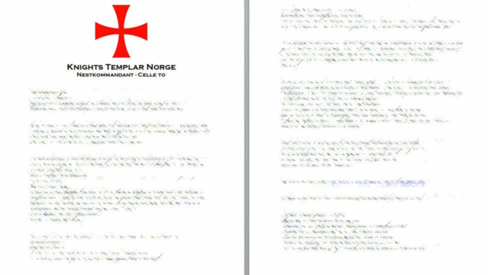 - TRUSSELBREV: PST har startet etterforskning etter å ha blitt kjent med et brev der avsender hevder å tilhøre organisasjonen Knights Templar. Foto: Skjermdump