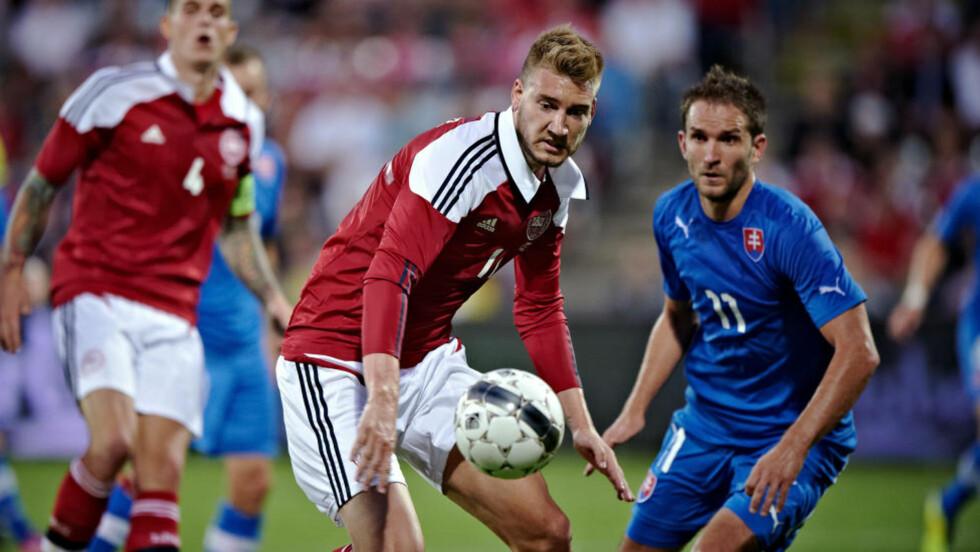 TAPTE: Nicklas Bendtner og Danmarks siste oppkjøringskamp før VM-kvalifiseringen endte med 1-3-tap mot Slovakia på hjemmebane. Foto: AP Photo / Tariq Mikkel Khan / NTB Scanpix