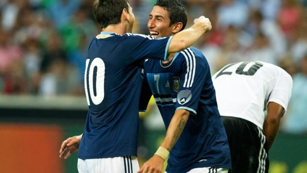 SCORET: Lionel Messi og Angel Di Maria scoret hvert sitt mål mot Tyskland. Foto: EPA / UWE ANSPACH