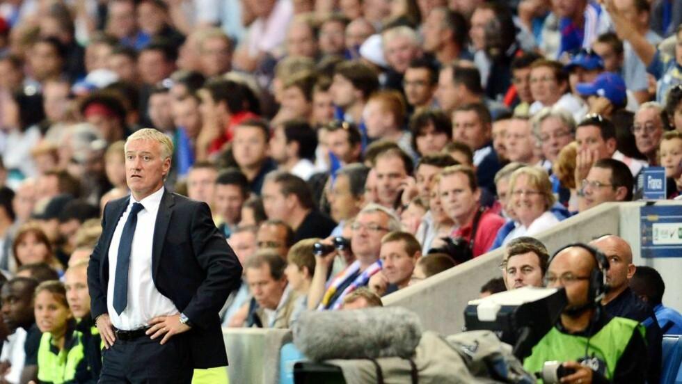 DEBUTERTE MED UAVGJORT: Frankrike måtte nøye seg 0-0 hjemme mot Uruguay i Didier Deschamps debut som landslagssjef onsdag. Foto: AFP PHOTO /  FRANCK FIFE