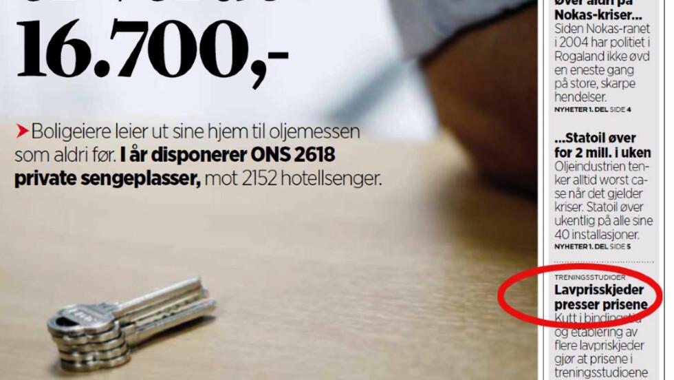ÉN S FOR MYE: Det er kort vei fra tørre, sammensatte ord til sammensatte ord av den mer obskøne sorten. Det fikk Stavanger Aftenblad erfare på deres forside i dag. Faksimile: Stavanger Aftenblad.