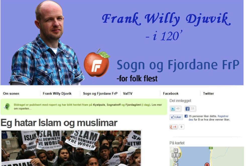 BLOGGER: Slik ser bloggen til Frank Willy Djuvik ut i dag. - Jeg kunne like gjerne ha brukt kristne i tittelen, sier han.
