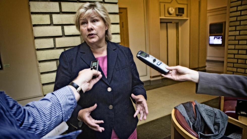 - IKKE I DAG: ..svarte Høyre-leder Erna Solberg på spørsmål om det var aktuelt med mistillitsforslag mot regjeringen i kjølvannet av 22. julirapporten. Foto: Lars Eivind Bones / Dagbladet
