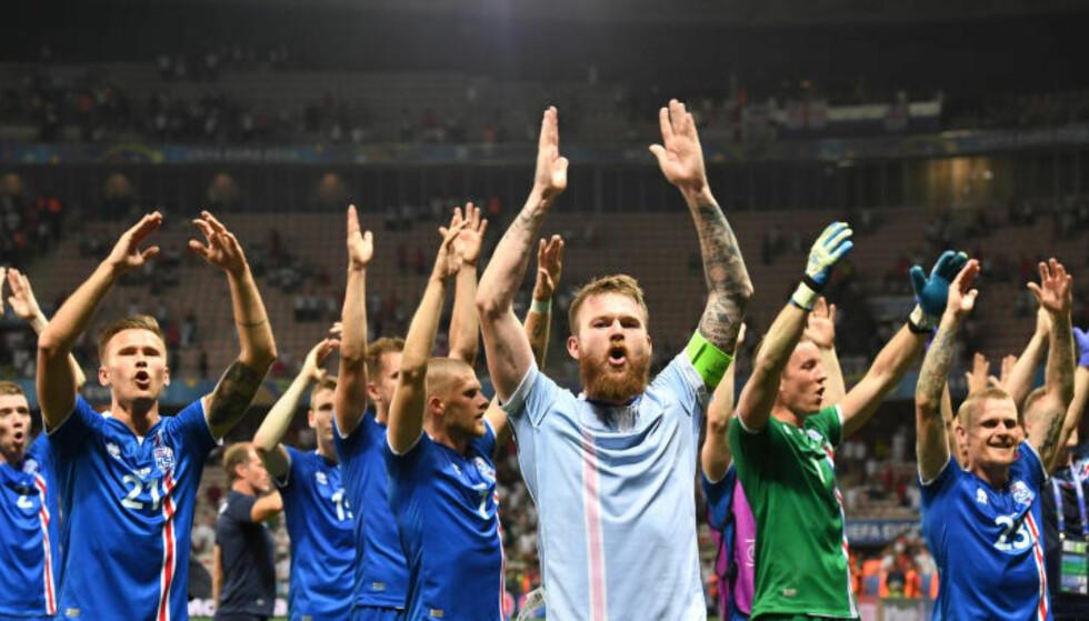 I KRANGEL MED SPILLPRODUSENT: Det islandske fotballaget sjarmerte fotballeuropa i sommer. Foto: NTB Scanpix