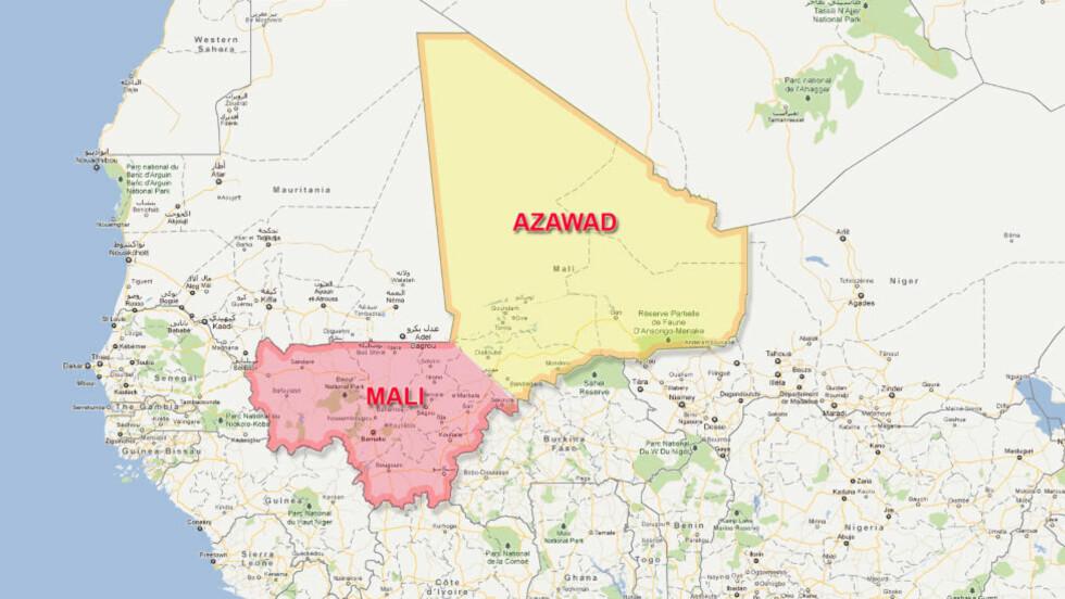 ERKLÆRT UAVHENGIGHET:  De tungt bevæpnede Tuareg-opprørerne kunngjorde i dag at «staten» Azawad er løsrevet fra Mali. Kart: Google Maps / Dagbladet