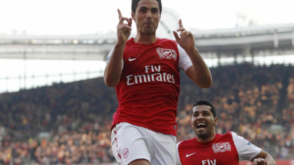 MATCHVINNER: Mikel Arteta scoret kampens eneste mål da Arsenal slo Manchester City. Foto: Reuters / Andrew Winning