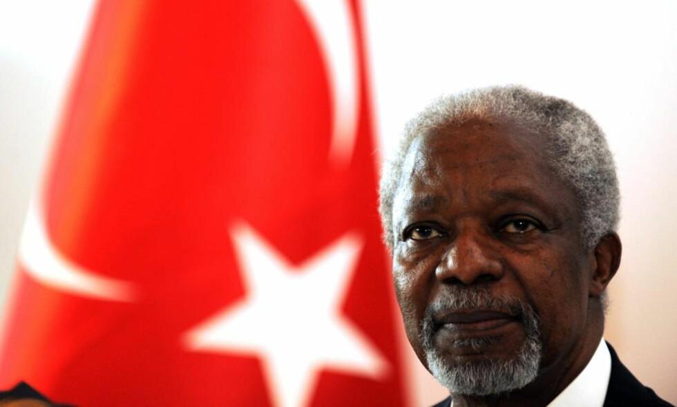 - FORTSATT TID:  Da Kofi Annan møtte pressen tidligere i kveld nektet han for at fredsplanen har feilet. Samtidig konstaterte han at syriske styrker har forflyttet seg til nye områder, i stedet for å trekke seg tilbake. Foto: AFP