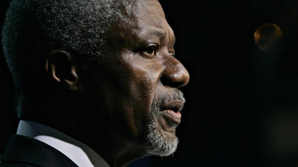 HAR HÅP:  Fredsmegler Kofi Annan har fremdeles tro på at Syriske regjeringsstyrker har lagt ned våpnene og at de vil følge sekspunktsavtalen innen i morgen. Foto: Aleksander Nordahl / Dagbladet