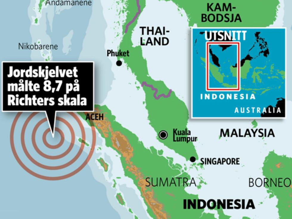KATASTROFEUTSATT: Områdene der tsunamivarselet i formiddag gikk ut, ble hardt rammet av tsunamien i 2004. Grafikk: KJELL ERIK BERG / DAGBLADET